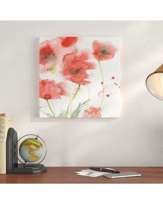 """Charlton Home 'Awakening Poppies' Painting Print on Wrapped Canvas CRLM1137 Size: 35"""" H x 35"""" W x 2"""" D"""