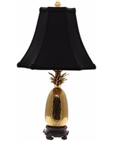 Tropic Pineapple Brass and Black Table Lamp