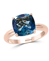 Bloomingdale's Blue Topaz Cushion Statement Ring in 14K Rose Gold - 100% Exclusive