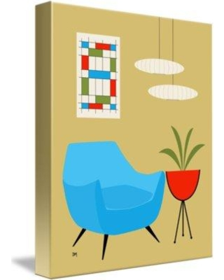 East Urban Home 'Mini Abstract Turquoise Chair No Cat' Graphic Art Print on Canvas ETHF7309