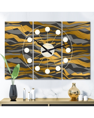 Designart 'Angled lines and waves pattern' Oversized Mid-Century wall clock - 3 Panels - 36 in. wide x 28 in. high - 3 Panels (36 in. wide x 28 in.