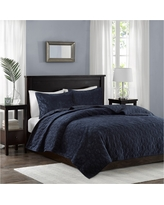 Navy (Blue) Mercer Polyester Velvet Quilt Set (King/California King)