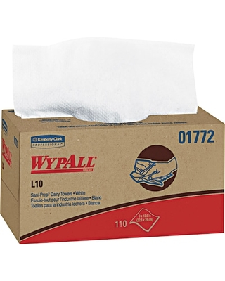 WypAll L10 Hydroknit Wipers, White, 110 Wipes/Box, 18 Boxes/Carton (01772) | Quill