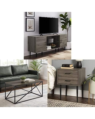 Walker Edison Furniture Company Mid Century Modern Wood Universal Stand for TV with Metal Rectangle Coffee Table Living Room and Olivia 2 Drawer Wood Rectangle Side TableLiving Room