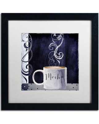 """Trademark Fine Art 'Cafe Blue III' by Color Bakery Framed Graphic Art ALI4114-B1 Mat Color: White Size: 16"""" H x 16"""" W x 0.5"""" D"""