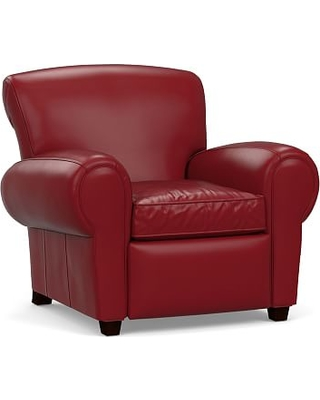 Manhattan Leather Power Tech Recliner without Nailheads, Polyester Wrapped Cushions, Leather Signature Berry Red