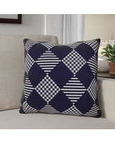 """The Holiday Aisle Decorative Geometric Throw Pillow HLDY1534 Size: 18"""" H x 18"""" W, Color: Navy Blue"""