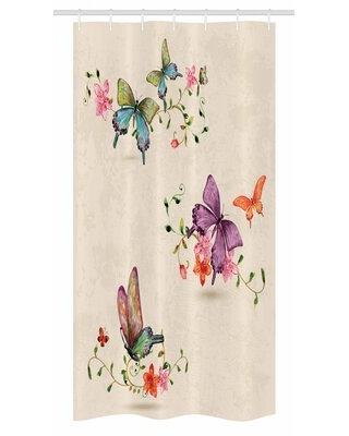 """Butterfly Stall Shower Curtain Single + Hooks East Urban Home Size: 36"""" W x 72"""" L"""