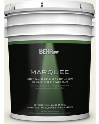 BEHR MARQUEE 5 gal. #PPU10-13 Snowy Pine Semi-Gloss Enamel Exterior Paint and Primer in One