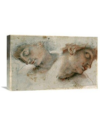 """Global Gallery 'Two Studies of a Head' by Cristofano Roncalli Painting Print on Wrapped Canvas GCS-265474 Size: 18.84"""" H x 30"""" W x 1.5"""" D"""