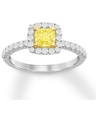 Certified Yellow Diamond Ring 1 ct tw Cushion 18K Two-Tone Gold