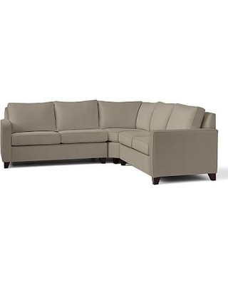Cameron Square Arm Upholstered 3-Piece L-Shaped Wedge Sectional, Polyester Wrapped Cushions, Performance Everydayvelvet(TM) Carbon