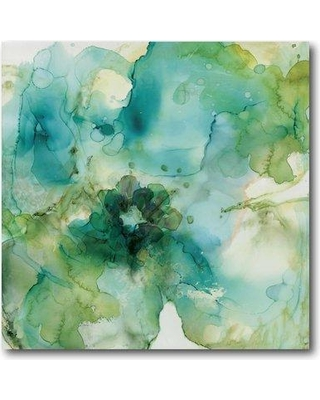"Ebern Designs 'Green Flower' Graphic Art Print on Wrapped Canvas EBDG1180 Size: 30"" H x 30"" W"