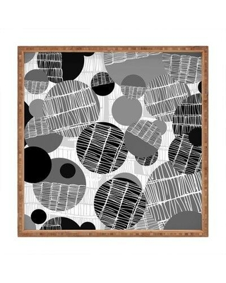 "East Urban Home Textured Geo Tray FINF8833 Size: 1.25"" H x 12"" W x 12"" D Color: Gray/Black"