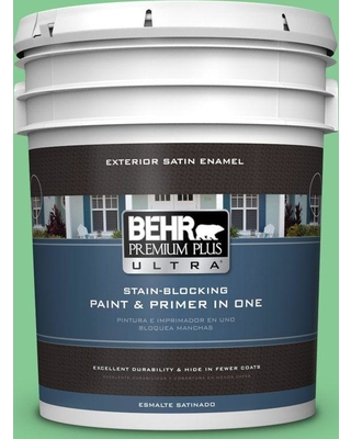 BEHR ULTRA 5 gal. #P400-4 Good Luck Satin Enamel Exterior Paint and Primer in One