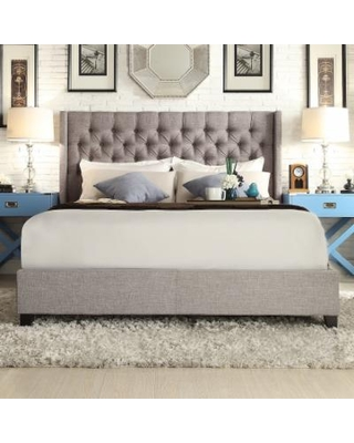 HomeVance Stanford Heights Tufted Wingback Bed, Grey, Full