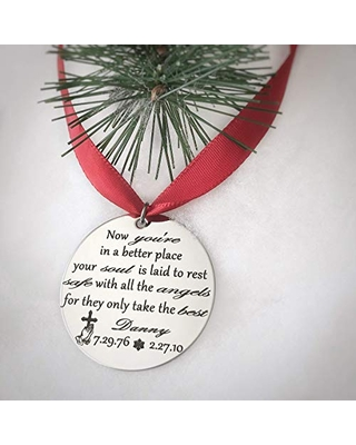 Silver Engraved Personalized Memorial Christmas Tree Ornament