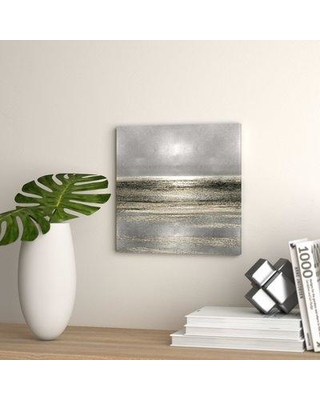 "Wade Logan 'Silver Seascape I' Graphic Art Print on Canvas WDLN1847 Size: 48"" H x 48"" W x 1.5"" D"