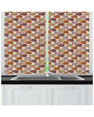 Autumn Continuous Pattern of Zentangle Style Ornamental Leaves in Pastel Tones Kitchen Curtain East Urban Home