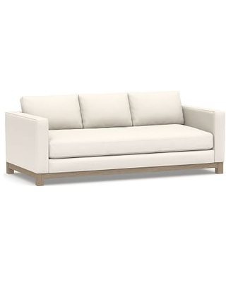 """Jake Upholstered Sofa 85"""" with Wood Legs, Polyester Wrapped Cushions, Performance Chateau Basketweave Ivory"""