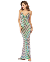 Milanoo Evening Dress Black Sleeveless Backless Polyester Sequins Cami Gowns Long Party Dress Bodycon Pageant Dress