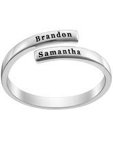 Personalized Women's Sterling Silver or Gold over Silver Engraved Double Name Bypass Ring