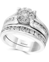 Effy White Gold 1.48 ct. t.w. Diamond Engagement and Wedding Band Set in 14K White Gold