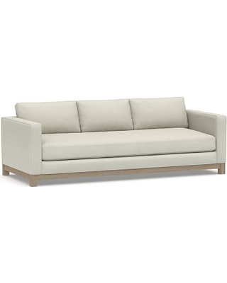 """Jake Upholstered Grand Sofa 95"""" with Wood Legs, Polyester Wrapped Cushions, Premium Performance Basketweave Pebble"""
