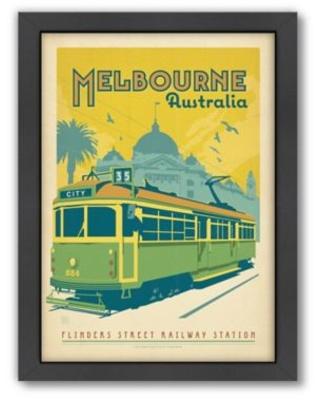 World Travel Melbourne Framed Wall Art by Anderson Design Group
