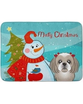 The Holiday Aisle Snowman with Shih Tzu Memory Foam Bath Rug THLA5031 Color: Gray/Silver