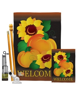 Welcome Pumpkin - Impressions Decorative 2-Sided Polyester 40 x 28 in. Flag Set Breeze Decor