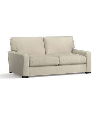 """Turner Square Arm Upholstered Loveseat 2-Seater 72"""" without Nailheads, Down Blend Wrapped Cushions, Premium Performance Basketweave Oatmeal"""