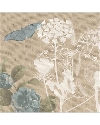 Burlap Butterfly with Silhouette Botanical Plants Tan & Blue Canvas Art by Pied Piper Creative