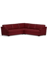 Townsend Square Arm Leather 3-Piece L-Shaped Corner Sectional, Polyester Wrapped Cushions, Leather Signature Berry Red