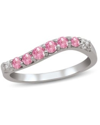 Sterling Silver Genuine Birthstone Ring with Diamond Accent (October - Pink - H - Tourmaline - 9 - Pink)