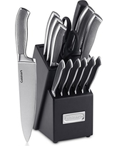 Cuisinart 15-Piece Graphix Collection Cutlery Knife Block Set, Stainless Steel