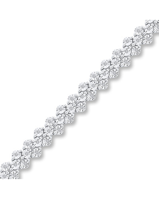 Diamond Bracelet 1/3 ct tw Round-cut Sterling Silver 7.25""