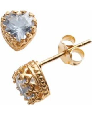 14k Gold Over Silver Lab-Created Aquamarine Heart Crown Stud Earrings, Women's, Blue