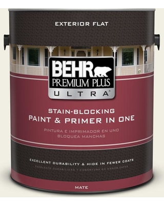 BEHR Premium Plus Ultra 1 gal. #PPU10-13 Snowy Pine Flat Exterior Paint and Primer in One