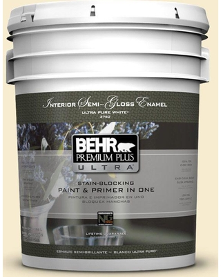 BEHR Premium Plus Ultra 5 gal. #380E-2 Lightning White Semi-Gloss Enamel Interior Paint and Primer in One