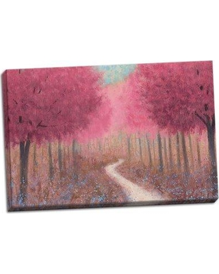 """Winston Porter 'Forest Pathway Spring Crop' Graphic Art Print BF060968 Format: Wrapped Canvas Size: 16"""" H x 24"""" W x 0.75"""" D"""