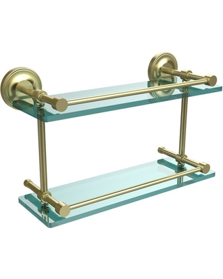 Allied Brass Prestige Regal 16 in. L x 8 in. H x 5 in. W 2-Tier Clear Glass Bathroom Shelf with Gallery Rail in Satin Brass