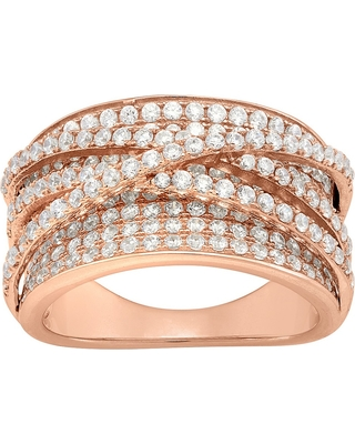 """2.15 CT. T.W. Curved """"x"""" Cubic Zirconia Ring In 14K Gold Over Silver - (5), Women's, Rose"""