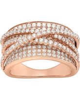 """2.15 CT. T.W. Curved """"x"""" Cubic Zirconia Ring In 14K Gold Over Silver - (5), Girl's, Rose"""