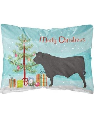 The Holiday Aisle Northpoint Black Angus Cow Christmas Fabric Indoor/Outdoor Throw Pillow BI148757