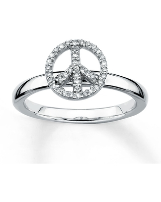 Stackable Peace Sign Ring 1/10 ct tw Diamonds Sterling Silver