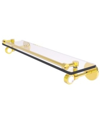 Allied Brass Clearview Collection Gallery Rail Glass Shelf with Groovy Accents (Polished Brass - 22 Inch)