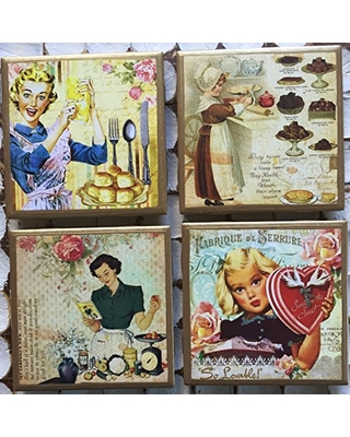 Coasters! Vintage cooking card coasters with gold trim