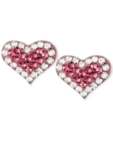 Betsey Johnson Silver-Tone Heart Pink Crystal Stud Earrings