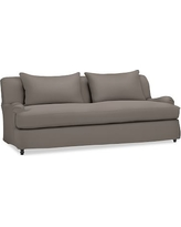 "Carlisle Slipcovered Grand Sofa 90.5"" with Bench Cushion, Polyester Wrapped Cushions, Performance Twill Metal Gray"